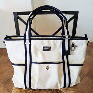 Morino Hanpu 森野帆布 Large Tote Bag in White/Navy